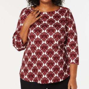 Charter Club Cotton Printed 3/4-Sleeve Top